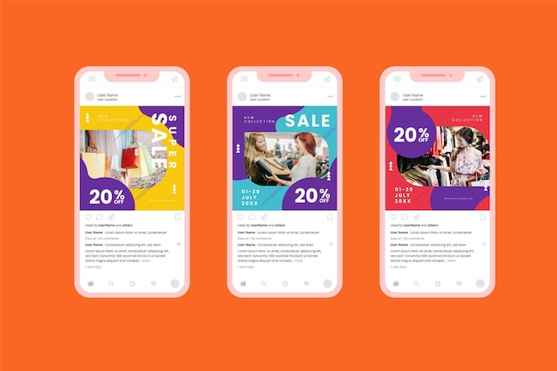 다채로운 판매 소셜 미디어 모음 무료 벡터