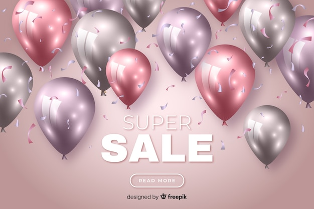 Colourful sales background with realistic balloons Free Vector