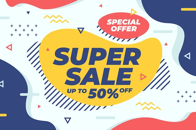 Colourful sales background with super sale Free Vector