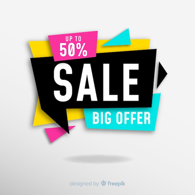 Colourful sales banner design Free Vector