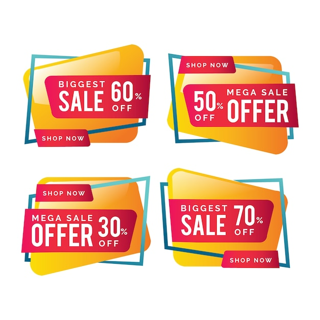 Colourful sales banners with offers Free Vector