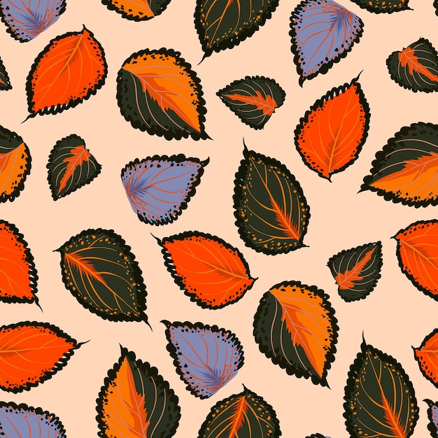 Красочный фон с рукой рисовать ботанические листья Premium векторы