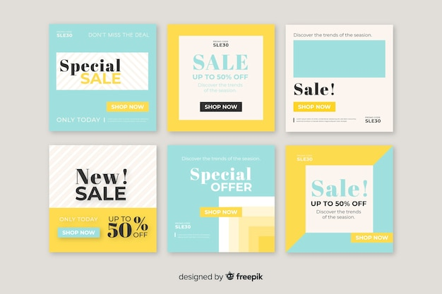 Colourful set of modern sale banners for social media Free Vector