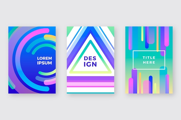 Colourful shapes covers for posters template Free Vector