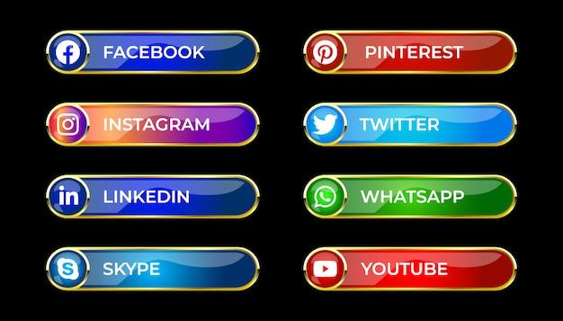 カラフルな光沢のある3 dソーシャルメディアグラデーションボタンの丸いアイコンを設定 Premiumベクター