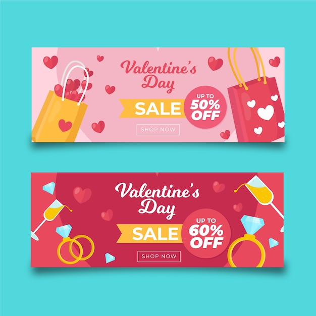 Colourful shopping bags valentine's day sale banners Free Vector