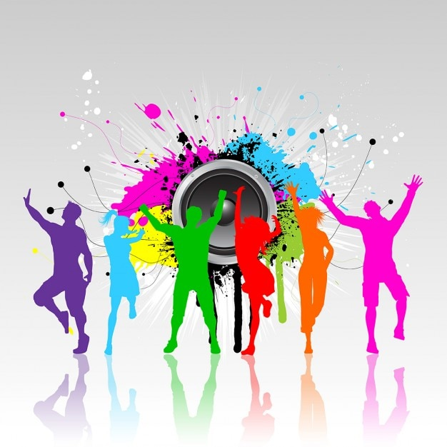 Colourful silhouettes of people dancing on a grunge background Free Vector
