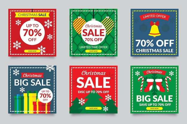Colourful social media post sale collection Free Vector
