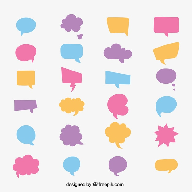 colourful speech bubble collection vector free download rh freepik com text bubble vector free download apple text bubble vector