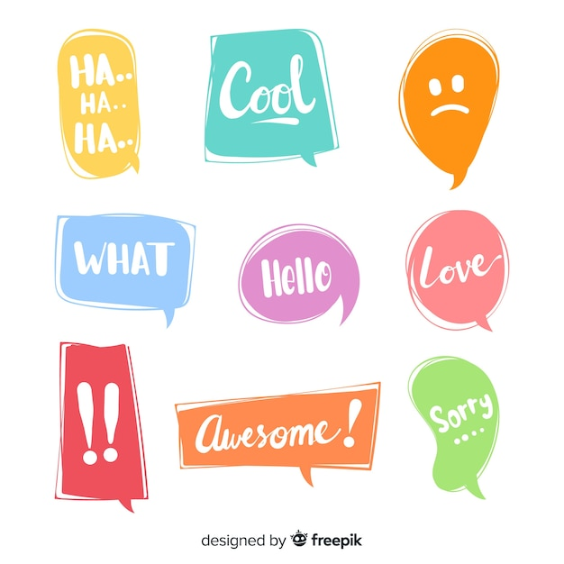 Colourful speech bubbles for dialog Free Vector