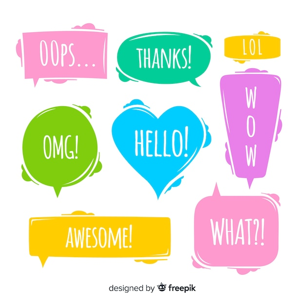 Colourful speech bubbles with different expressions Free Vector