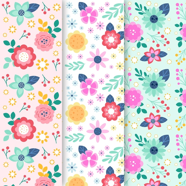 Colourful spring floral pattern design collection Free Vector