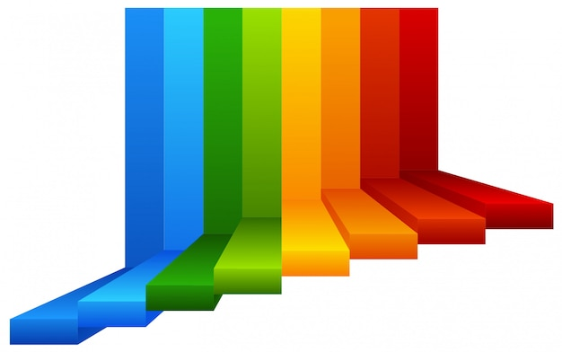 A colourful stairway on white background Free Vector