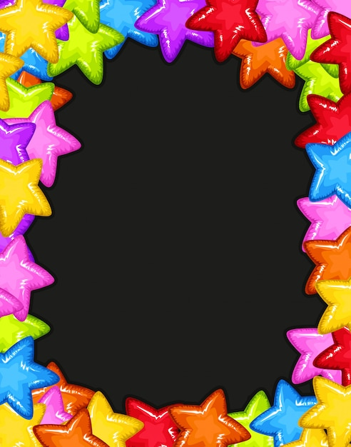 A colourful star border Free Vector