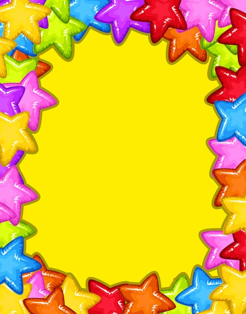 A colourful star frame Free Vector