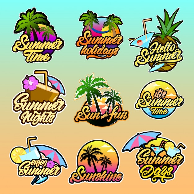 Colourful summer logotypes with lettering Premium Vector