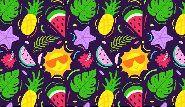 Colourful summer pattern Premium Vector