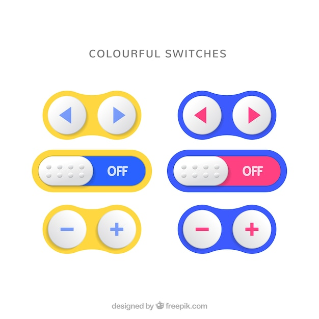 Colourful switches Free Vector