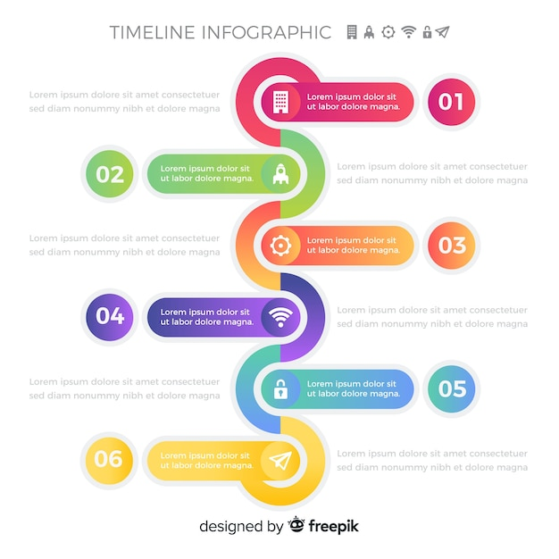 Colourful timeline infographic steps Free Vector