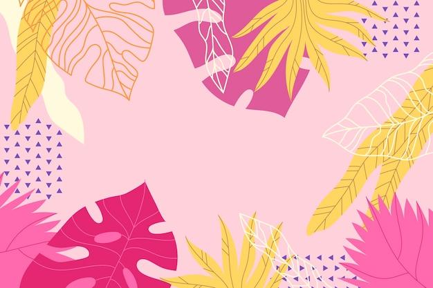Красочный тропический фон с пустым пространством Бесплатные векторы