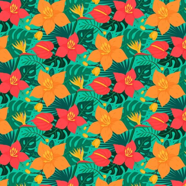 Красочный тропический цветочный узор Бесплатные векторы