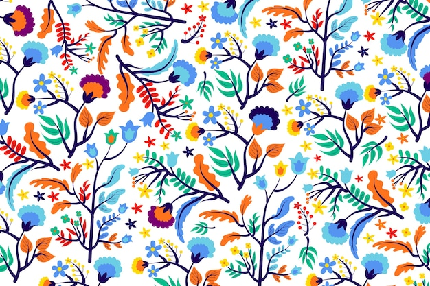 Colourful tropical flowers and leaves background Free Vector