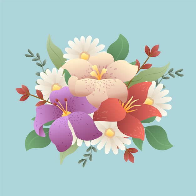 Colourful vintage bouquet of flowers Free Vector