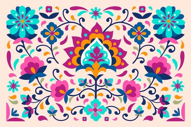 Carta da parati colorata con fiori messicani ed esotici Vettore gratuito