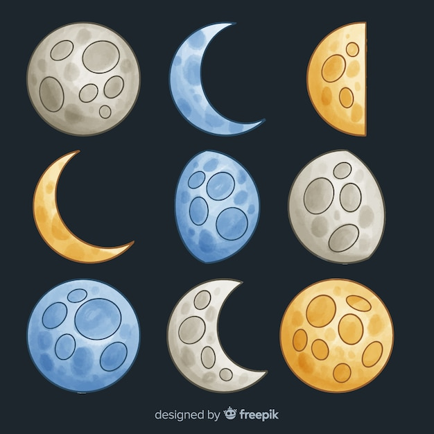 Colourful watercolor moon collection Free Vector