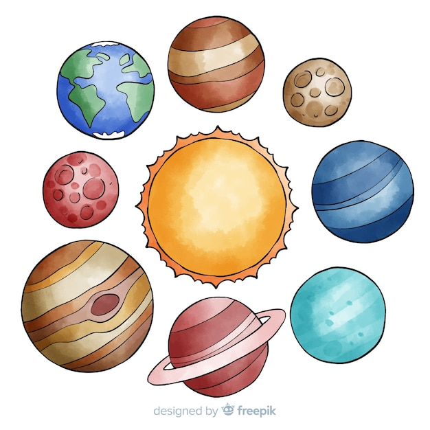 Colourful watercolor planet collection Free Vector