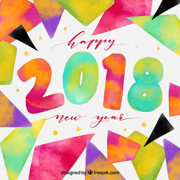 Colourful watercolour background happy 2018 new\ year
