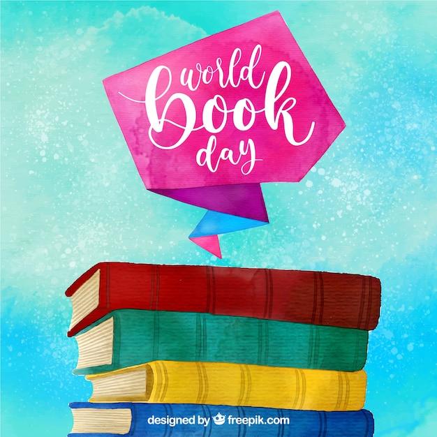 Priorità bassa dell'acquerello colorato per la giornata mondiale del libro Vettore gratuito