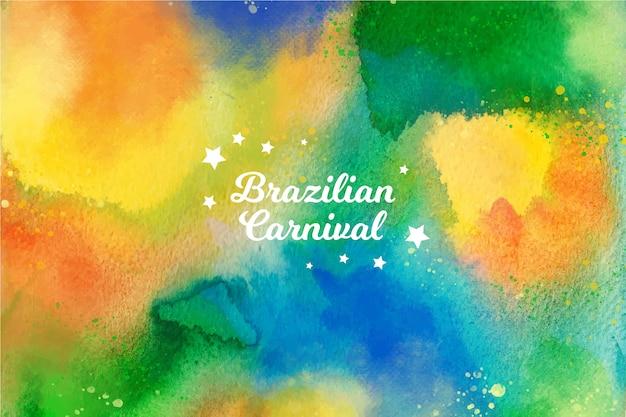 Carnevale brasiliano dell'acquerello colorato con stelle Vettore gratuito