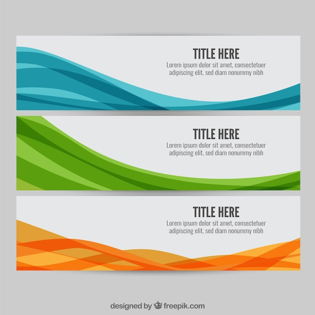 Colourful wave web banners Free Vector