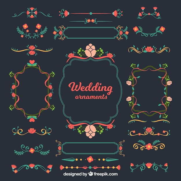 Colourful wedding ornaments in flat design Free Vector