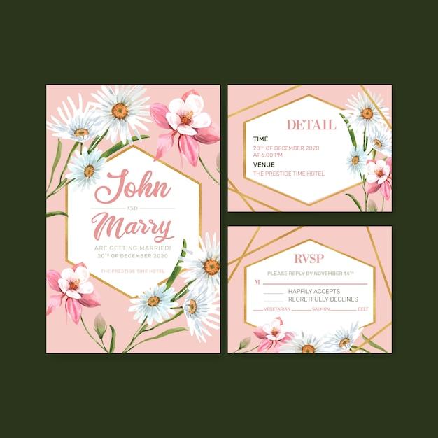 Карточка свадьбы цветочного сада с маргариткой, иллюстрацией акварели цветка columbine. Бесплатные векторы