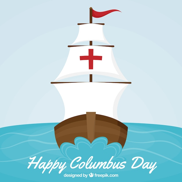 Columbus day background of caravel sailing Free Vector