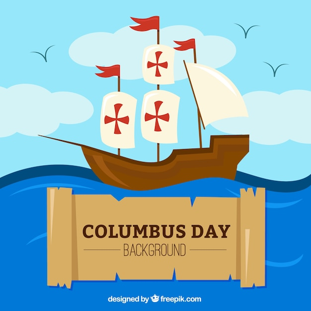 Columbus day background of caravel Free Vector
