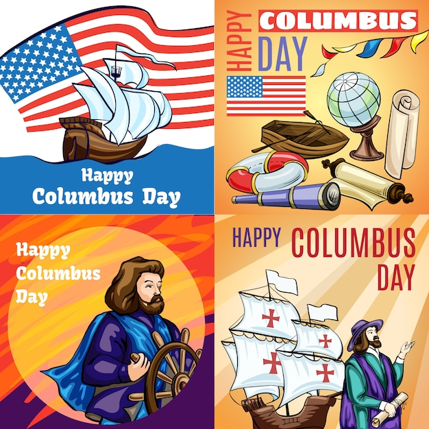 Columbus day banner set. cartoon illustration of columbus day Premium Vector