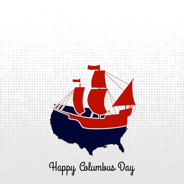 Columbus day boat label. vector calligraphy. Free Vector