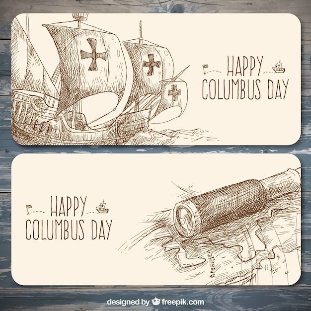Columbus day hand-drawn banners Free Vector