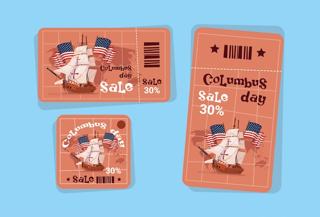 Columbus day seasonal holiday sale tags shopping discount icons america discover greeting card Premium Vector