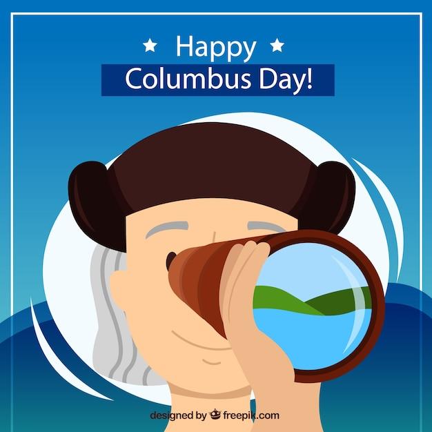 Columbus день фон с телескопом Бесплатные векторы