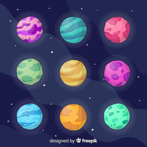 Columns and rows of cute planets Free Vector
