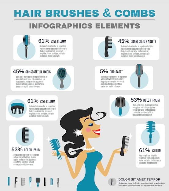 Comb infographics set Free Vector