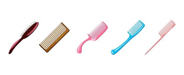 Comb set. cartoon set of comb Premium Vector