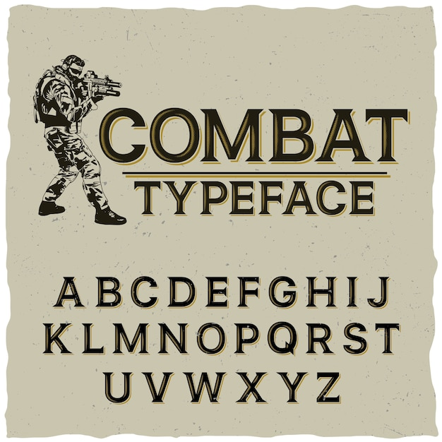 Combat typeface poster with hand drawn soldier on grey Free Vector