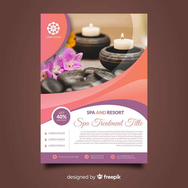 Combined spa flyer template Free Vector