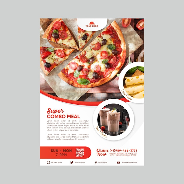 Combo meals discount poster template Free Vector