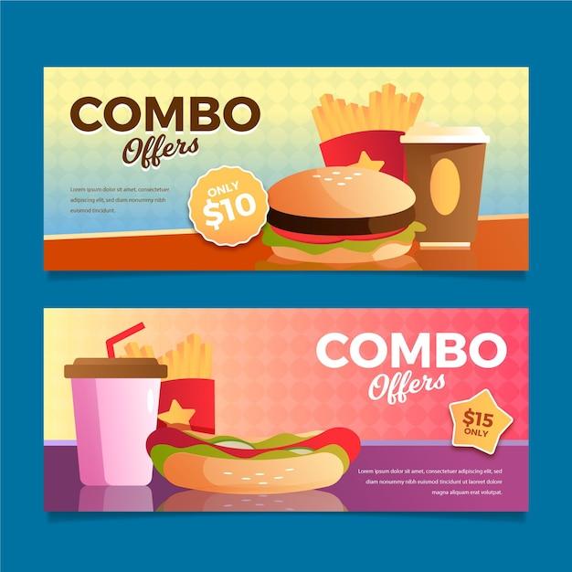 Raccolta di banner fast food di pasti combinati Vettore gratuito